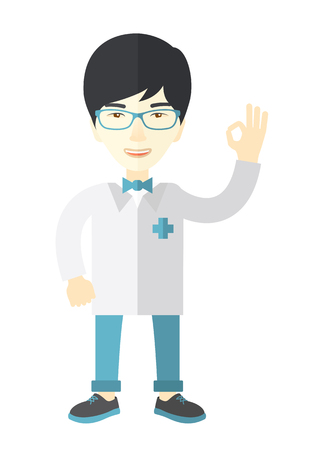 all ok: A friendly asian doctor in glasses and medical gown shows sign all ok vector flat design illustration isolated on white background. Vertical layout.