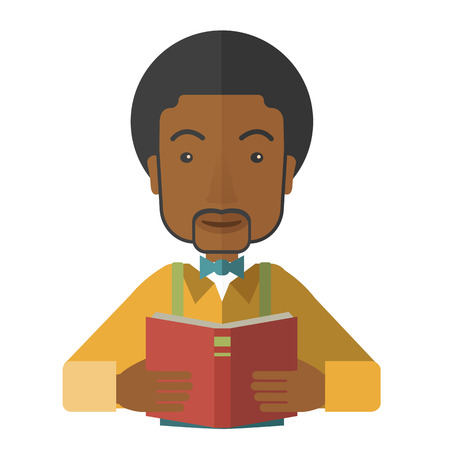 study: A african-american doctor reding a book vector flat design illustration isolated on white background. Square layout.