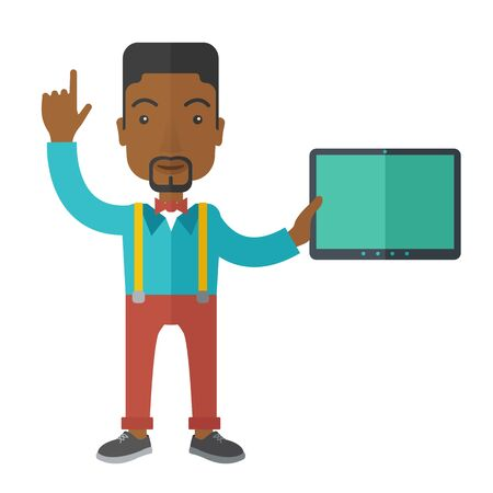doctor tablet: An african-american doctor holding a tablet and pointing finger up vector flat design illustration isolated on white background. Square layout.