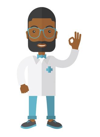 medico caricatura: Un médico inconformista afroamericana amistosa en vidrios y espectáculos vestido médicos firmar todo diseño plano ilustración ok vectorial aislados en fondo blanco. Diseño vertical.