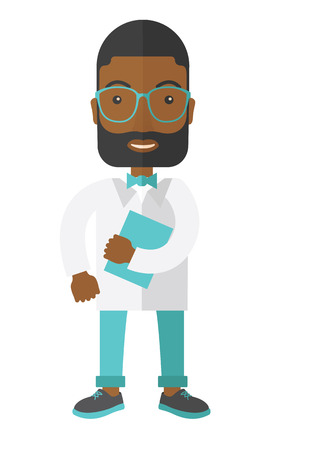 medico: A happy african-american hipster doctor in glasses holding a notepad vector flat design illustration isolated on white background. Vertical layout. Illustration