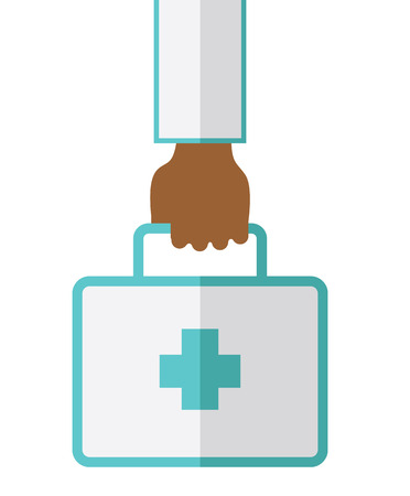 An african-american doctor hand carrying first aid box vector flat design illustration isolated on white background. Vertical layout.