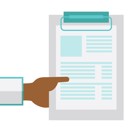An african-american doctor hand holding medical notepad vector flat design illustration isolated on white background. Square layout.