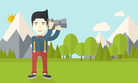 taking photo: An asian photographer taking photo in mountains vector flat design illustration. Horizontal layout with a text space.