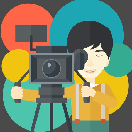 news flash: An asian cameraman looking through movie camera on a tripod vector flat design illustration. Square layout.