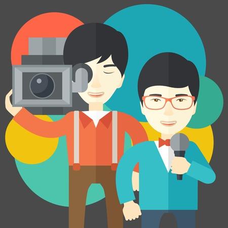 talking cartoon: An asian cameraman filming a reporter vector flat design illustration. Square layout.