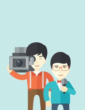 filming: An asian cameraman filming a reporter vector flat design illustration isolated on blue background. Vertical layout with a text space. Illustration