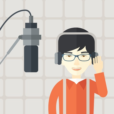 commentator: Cheerful asian radio DJ wearing glasses with headphone and microphone vector flat design illustration. Square layout. Illustration