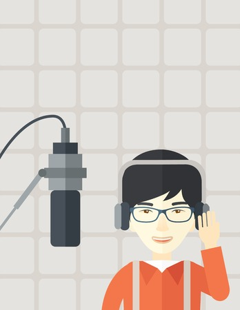 commentator: Cheerful asian radio DJ wearing glasses with headphone and microphone vector flat design illustration. Vertical layout with a text space.