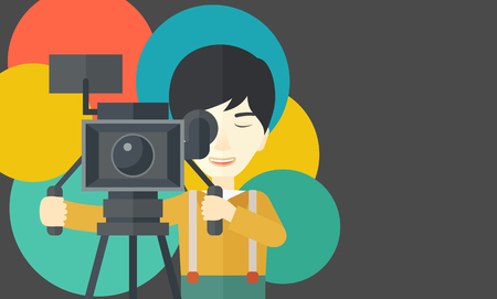 cameraman: An asian cameraman looking through movie camera on a tripod vector flat design illustration. Horizontal layout with a text space.