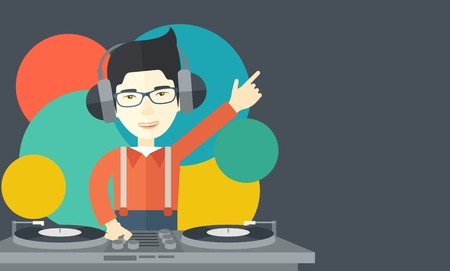 An asian DJ wearing headphones and glasses with hand up playing vinyl vector flat design illustration. Horizontal layout with a text space. Illustration