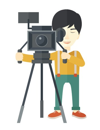 cameraman: An asian cameraman looking through movie camera on a tripod vector flat design illustration isolated on white background. Vertical layout.