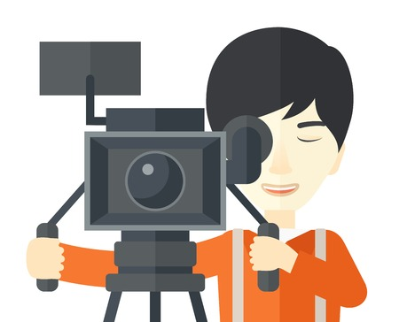 cameraman: An asian cameraman looking through movie camera on a tripod vector flat design illustration isolated on white background. Horizontal layout.