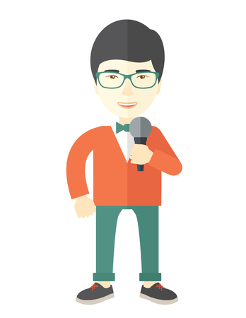 green glasses: An asian reporter wearing green glasses speaking into a microphone vector flat design illustration isolated on white background. Vertical layout.
