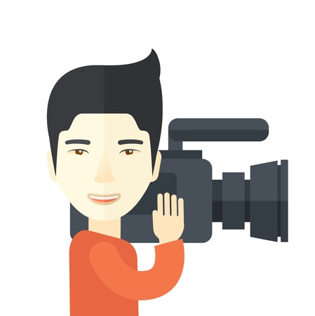 reporting: An asian cameraman with video camera taking a video vector flat design illustration  isolated on white background. Square layout. Illustration