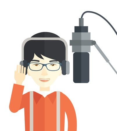 transmitting device: Cheerful asian radio DJ wearing glasses with headphone and microphone vector flat design illustration isolated on white background. Vertical layout. Illustration