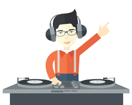 mixer console: An asian DJ wearing headphones and glasses with hand up playing vinyl vector flat design illustration isolated on white background. Horizontal layout.