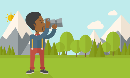 taking photo: An african-american photographer taking photo in mountains vector flat design illustration. Horizontal layout with a text space. Illustration