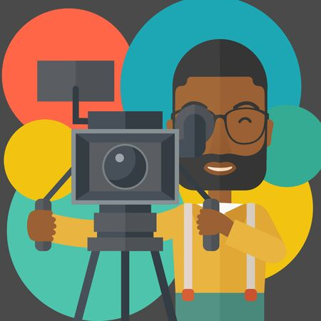 reporting: An african-american cameraman with beard and glasses looking through movie camera on a tripod vector flat design illustration. Square layout. Illustration