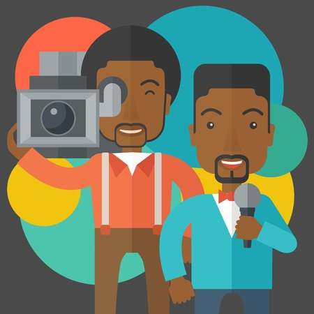 filming: An african-american cameraman filming a reporter vector flat design illustration. Square layout.