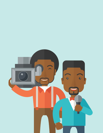 An african-american cameraman filming a reporter vector flat design illustration isolated on blue background. Vertical layout with a text space.