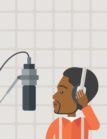transmitting device: Cheerful african-american radio DJ with headphone and microphone vector flat design illustration. Vertical layout with a text space.