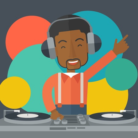 An african-american DJ wearing headphones with hand up playing vinyl vector flat design illustration. Square layout.