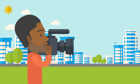 An african-american hipster cameraman with video camera taking a video with buildings around vector flat design illustration. Horizontal layout with a text space. Illustration