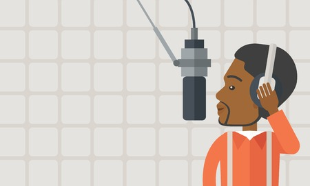 transmitting device: Cheerful african-american radio DJ with headphone and microphone vector flat design illustration. Horizontal layout with a text space. Illustration