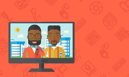 television set: Television set broadcasting the news with an african-american reporter interviewing a man vector flat design illustration. Horizontal layout with a text space.