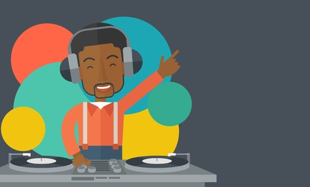 deejay: An african-american DJ wearing headphones with hand up playing vinyl vector flat design illustration. Horizontal layout with a text space.