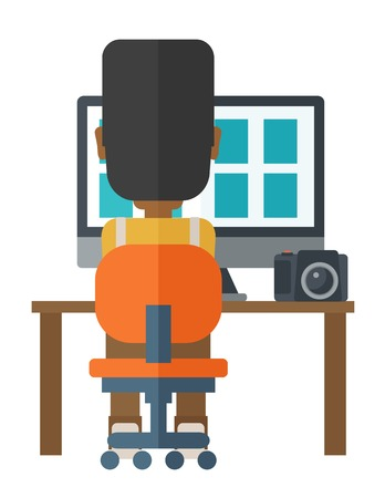 using computer: Back view of african-american photographer using computer at his workplace vector flat design illustration isolated on white background. Vertical layout. Illustration