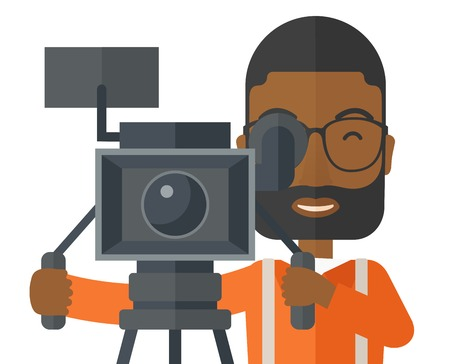 cinematographer: An african-american cameraman with beard and glasses looking through movie camera on a tripod vector flat design illustration isolated on white background. Horizontal layout.