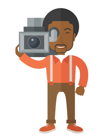 taking video: An african-american cameraman with video camera taking a video vector flat design illustration isolated on white background. Vertical layout.