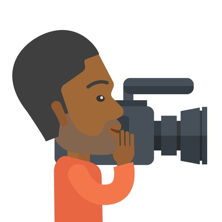 An african-american hipster cameraman with video camera taking a video vector flat design illustration isolated on white background. Square layout.