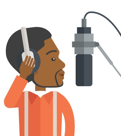 transmitting device: Cheerful african-american radio DJ with headphone and microphone vector flat design illustration isolated on white background. Vertical layout. Illustration