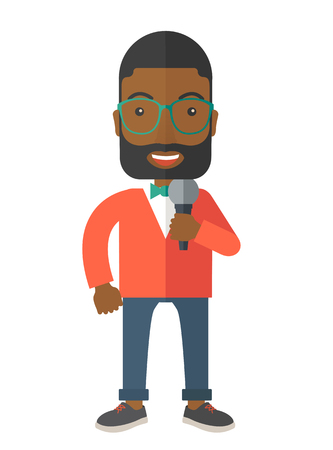 multimedia background: An african-american reporter with berad and glasses speaking into a microphone vector flat design illustration isolated on white background. Vertical layout.