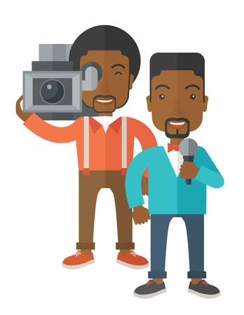 cameraman: An african-american cameraman filming a reporter vector flat design illustration isolated on white background. Vertical layout.