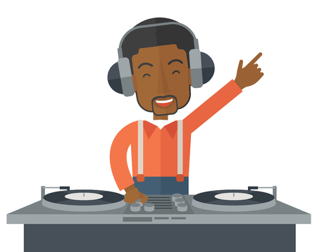 An african-american DJ wearing headphones with hand up playing vinyl vector flat design illustration isolated on white background. Horizontal layout.