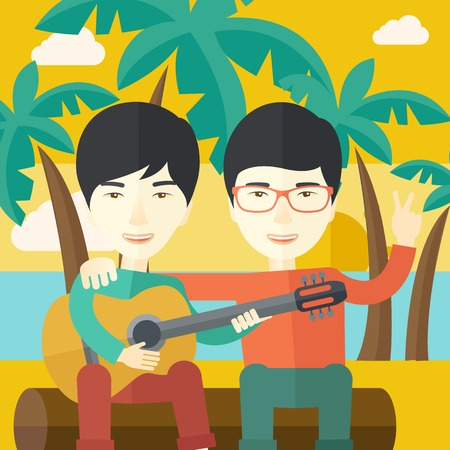 Two happy asian men sitting on a log playing a guitar at the beach under palm trees vector flat design illustration. Square layout. Vectores