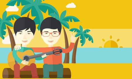 bestfriend: Two happy asian men  sitting on a log playing a guitar at the beach under palm trees vector flat design illustration. Horizontal layout with a text space.