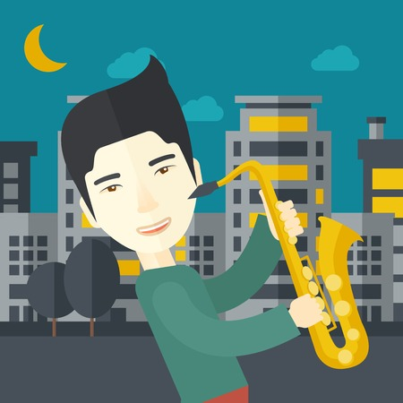 soloist: An asian musician playing saxophone in the streets at night vector flat design illustration. Square layout.