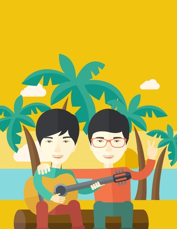 bestfriend: Two happy asian men  sitting on a log playing a guitar at the beach under palm trees vector flat design illustration. Vertical layout with a text space.