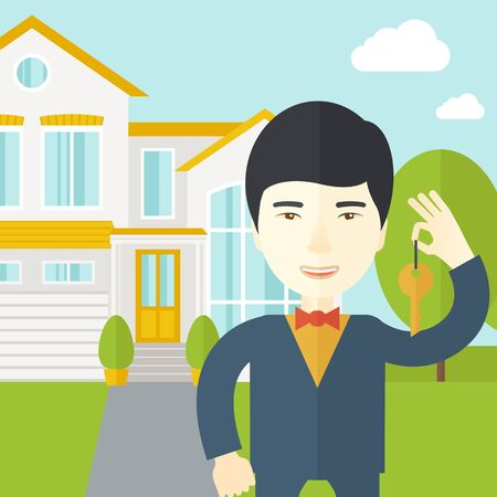 real estate agent: An asian real estate agent holding key on house background vector flat design illustration. Square layout.