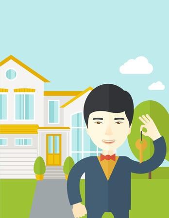 real estate agent: An asian real estate agent holding key on house background vector flat design illustration. Vertical layout with a text space.