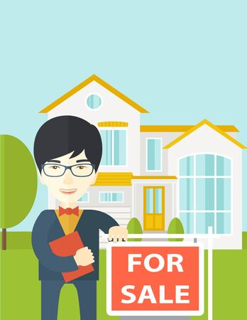 real estate agent: An asian real estate agent in glasses holding the document and placard for sale on house background vector flat design illustration. Vertical layout with a text space. Vectores