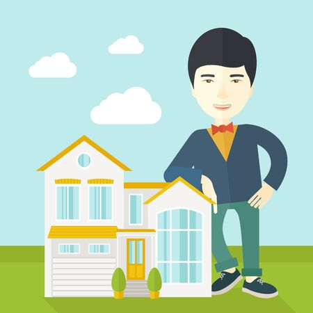 offering: An asian real estate agent standing and offering the house vector flat design illustration. Square layout.