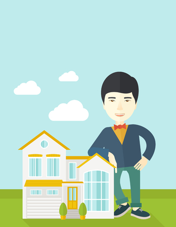 An asian real estate agent standing and offering the house vector flat design illustration. Vertical layout with a text space. Illustration