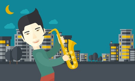 orchestral: An asian musician playing saxophone in the streets at night vector flat design illustration. Horizontal layout with a text space.