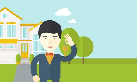 agents: An asian real estate agent holding key on house background vector flat design illustration. Horizontal layout with a text space.